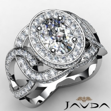 Twisted Style Halo Pave Oval diamond engagement Ring in 14k Gold White