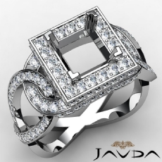 Diamond Engagement Princess Semi Mount Halo Pave Set Ring 14K White Gold 1.25Ct