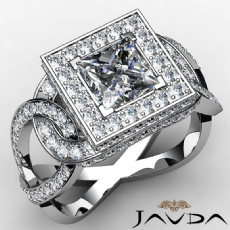 Twisted Shank Circa Halo Pave Princess diamond  Ring in 14k Gold White