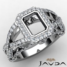 Emerald Semi Mount Diamond Engagement Ring 14K White Gold Halo Setting 1.38ct