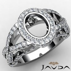 Halo Setting Diamond Engagement Ring Oval Cut Semi Mount 14K White Gold 1.42ct