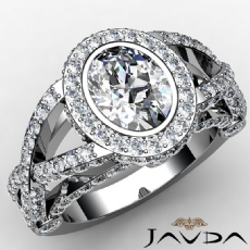 Halo Bezel Cross Shank Pave Oval diamond engagement Ring in 14k Gold White