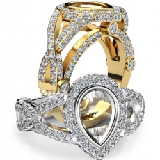 Pear Semi Mount Diamond Engagement Ring Halo Pave Setting 14k Gold Yellow  (1.36Ct. tw.)