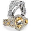 Pear Semi Mount Diamond Engagement Ring Halo Pave Setting 14k White Gold 1.36Ct - javda.com