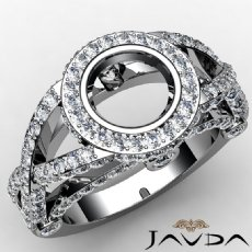 Diamond Engagement Ring Halo Setting Round Cut Semi Mount 14K White Gold 1.47ct