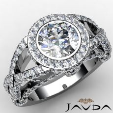 Cross Shank Halo Bezel Round diamond engagement Ring in 14k Gold White