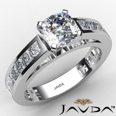 Classic V Prong Channel Set Cushion diamond engagement Ring in 14k Gold White