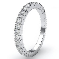 Italian Prong Set Round Diamond Eternity Band 14k White Gold Womens Ring 0.75Ct
