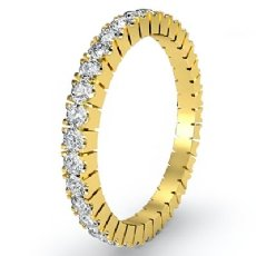 Italian Prong Set Round Diamond Eternity Band 18k Gold Yellow Womens Ring  (0.75Ct. tw.)