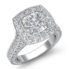 Vintage Style Halo Pave Set Cushion diamond engagement Ring in 14k Gold White