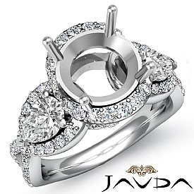 Three 3 Stone Diamond Anniversary Pear Round Semi Mount Ring 14k W Gold 1.4Ct