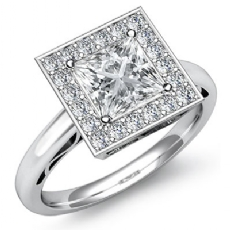 Halo Pave Filigree Design Princess diamond engagement Ring in 14k Gold White