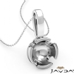 Bezel Set Round Cut Semi Mount Bail Pendant 14k White Gold - javda.com