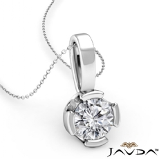 Floating Bezel Set Bail Round diamond  Pendant in 14k Gold White