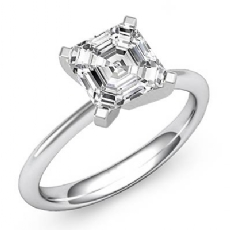 4 Prong Peg Head Solitaire Asscher diamond  Ring in 14k Gold White