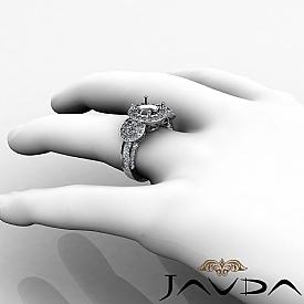 Three Stone Diamond Engagement Setting 14k White Gold Round SemiMount Ring 1.3Ct