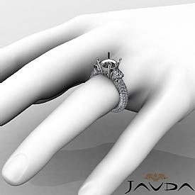 Three 3 Stone Round Diamond Engagement Ring Setting 14k W Gold Semi Mount 2.6Ct