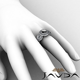 Round Side Diamond 3 Stone Engagement Ring Setting Semi Mount 14k W Gold 1.15Ct