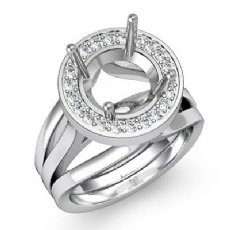 Diamond Engagement Ring Round Semi Mount 14K White Gold Halo Pave Setting 0.40Ct