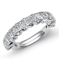 Princess Diamond V Prong Set Womens Half Wedding Band Ring 14k White Gold 2.2Ct