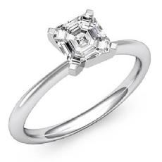 Asscher diamond  Ring in 14k Gold White