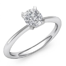 Classic Solitaire 4 Prong Cushion diamond engagement Ring in 14k Gold White