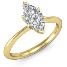 4 Prong Peg Head Solitaire Marquise diamond  Ring in 14k Gold Yellow