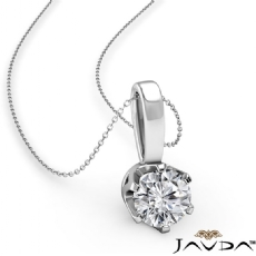6 Prong Crown Solitaire Round diamond  Pendant in 14k Gold White