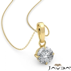 4 Prong Scroll Solitaire Round diamond  Pendant in 18k Gold Yellow