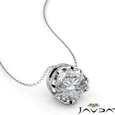 Double Prong Floating Round diamond  Pendant in 14k Gold White