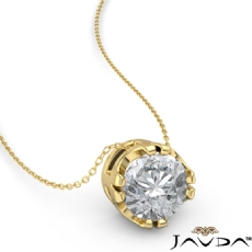Double Prong Floating Round diamond  Pendant in 18k Gold Yellow