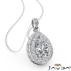 Halo Pave Filigree Bail diamond Pendant 14k Gold White