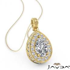 Pear diamond  Pendant in 14k Gold Yellow