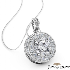 Halo Pave Filigree Basket diamond Pendant 14k Gold White