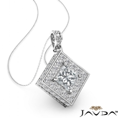Princess diamond  Pendant in 14k Gold White