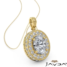 Oval diamond  Pendant in 14k Gold Yellow