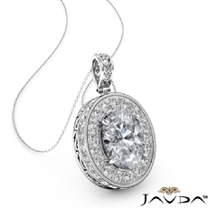 Oval diamond  Pendant in 14k Gold White