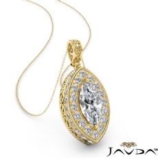 Marquise diamond  Pendant in 14k Gold Yellow
