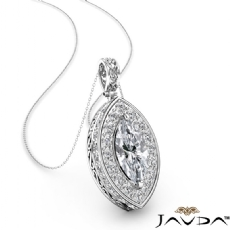 Halo Micro Pave Filigree diamond Pendant 14k Gold White