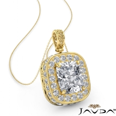 Cushion diamond  Pendant in 14k Gold Yellow