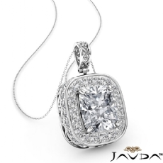 Halo Pave Filigree Design diamond Pendant 14k Gold White