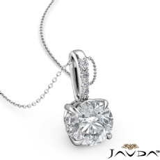 Round diamond  Pendant in 18k Gold White