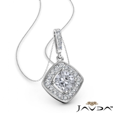 Cushion diamond  Pendant in 14k Gold White