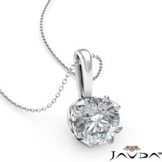 Filigree Basket Solitaire Round diamond  Pendant in 14k Gold White