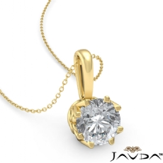 Filigree Basket Solitaire Round diamond  Pendant in 18k Gold Yellow
