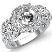 Three Stone Diamond Engagement Setting 14k White Gold Round SemiMount Ring 1.3Ct - javda.com