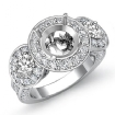 Three Stone Diamond Engagement Setting 14k White Gold Round SemiMount Ring 1.3Ct - javda.com