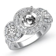 Three Stone Diamond Engagement Setting 14k White Gold Round SemiMount Ring 1.3Ct