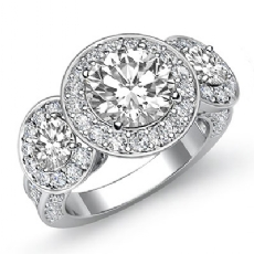 Halo Pave 3 Stone Filigree Round diamond engagement Ring in 14k Gold White