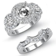 1.77Ct 3Stone Round Diamond Semi Mount Ring Engagement Bridal Set 14K White Gold